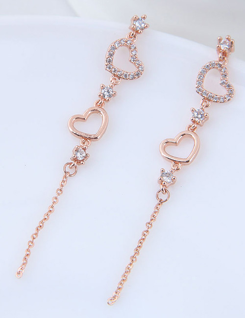 Fashion Rose Gold Heart Shape Decorated Tassel Earrings