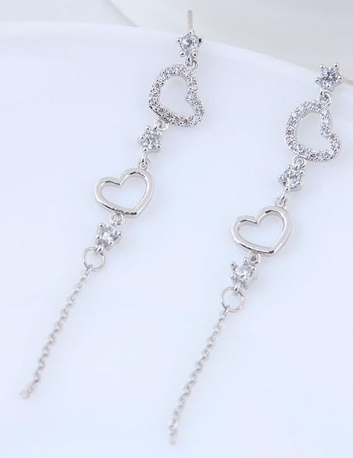 Fashion Silver Color Heart Shape Decorated Tassel Earrings