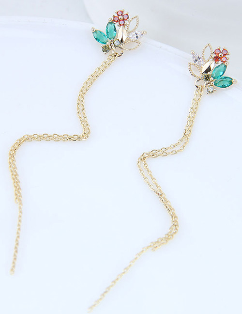 Fashion Gold Color Flower Shape Decorated Tassel Earrings