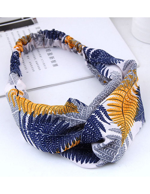 Fashion Blue Leaf Pattern Decorated Hairband