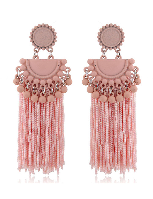 Fashion Light Pink Tassel Decorated Pure Color Earrings