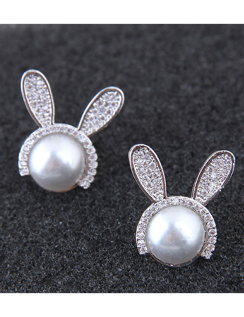 Fashion Silver Color Rabbit Shape Decorated Earrings