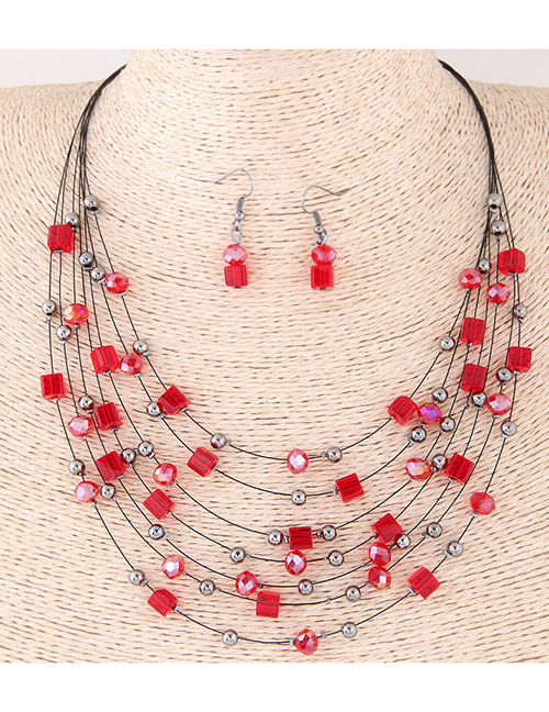Fashion Red Bead&crystal Decorated Multi-layer Jewelry Set