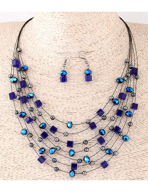 Fashion Blue Bead&crystal Decorated Multi-layer Jewelry Set