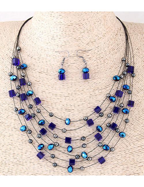 Fashion Blue Bead&crystal Decorated Multi-layer Jewelry Set