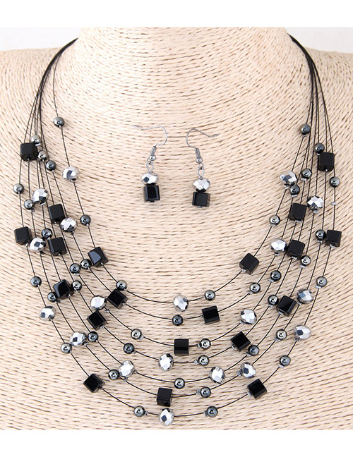Fashion Black Bead&crystal Decorated Multi-layer Jewelry Set