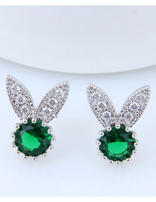 Fashion Green Rabbit Shape Decorated Earrings