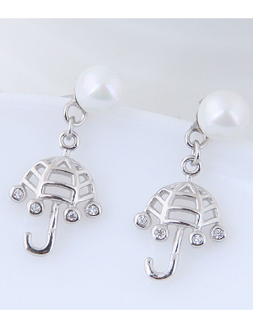 Fashion Silver Color Umbrella Shape Decorated Earrings