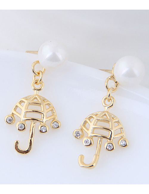 Fashion Gold Color Umbrella Shape Decorated Earrings