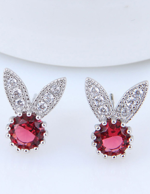 Fashion Red Rabbit Shape Decorated Earrings