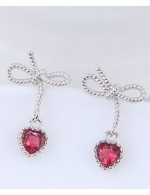 Fashion Silver Color Heart&bowknot Shape Decorated Earrings