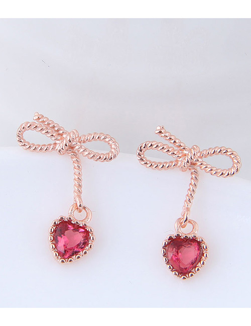 Fashion Rose Gold Heart&bowknot Shape Decorated Earrings