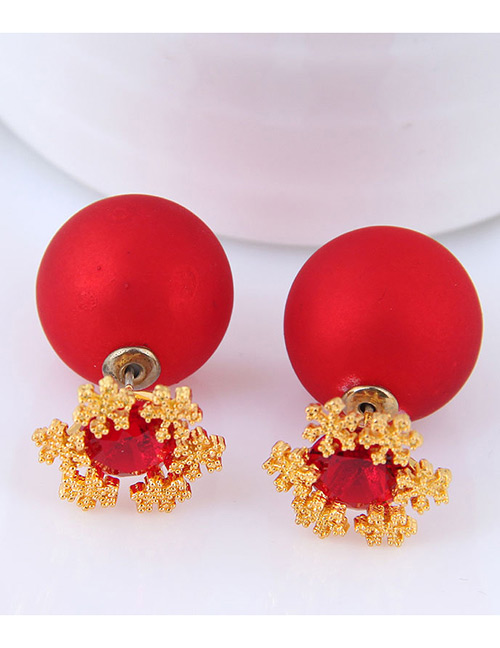 Fashion Red Ball Shape Decorated Earrings