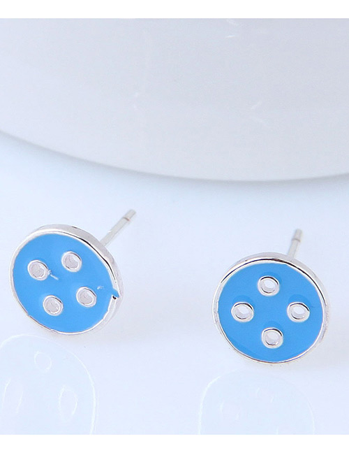Fashion Blue Button Shape Decorated Earrings