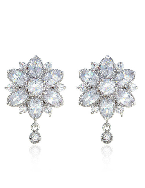 Fashion Silver Color Pure Color Design Flower Shape Earrings