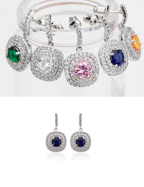 Fashion Blue Full Diamond Design Round Shape Earrings