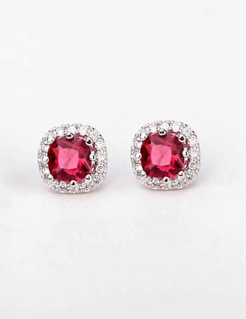 Fashion Red Round Shape Design Simple Earrings