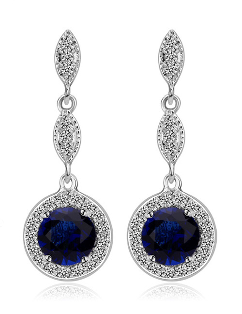 Fashion Blue Round Shape Design Long Earrings