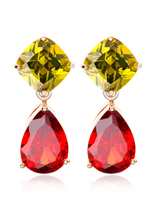 Fashion Champagne Geometric Shape Diamond Decorated Earrings