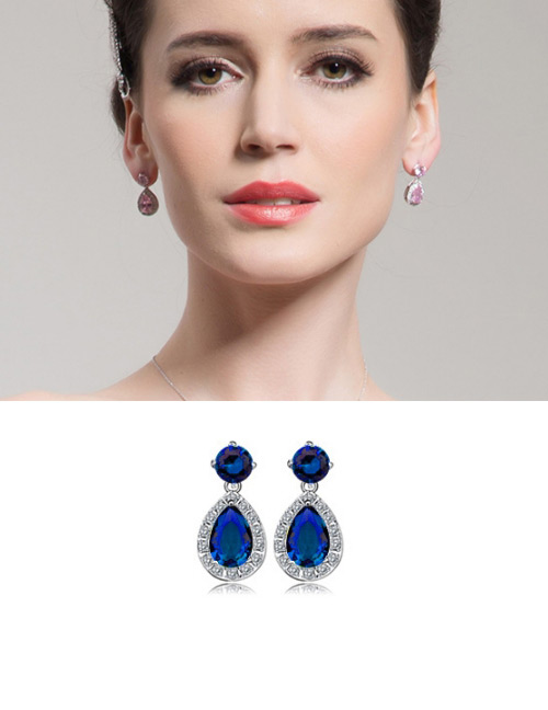 Fashion Blue Water Drop Shape Design Earrings