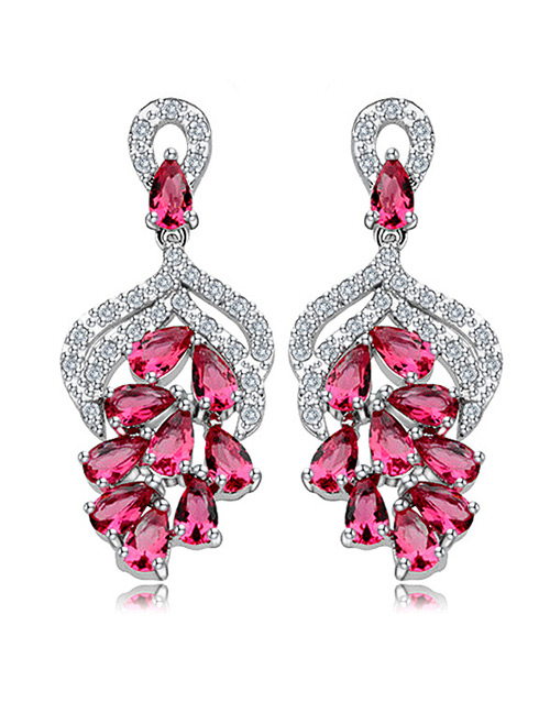 Fashion Red Hollow Out Design Long Earrings