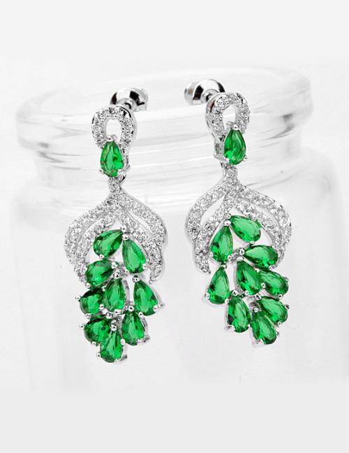Fashion Green Hollow Out Design Long Earrings