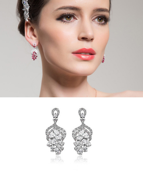 Fashion White Hollow Out Design Long Earrings
