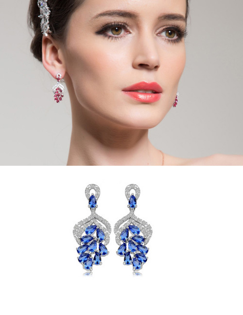 Fashion Blue Hollow Out Design Long Earrings