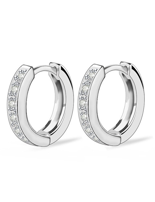 Fashion White Circular Ring Design Pure Color Earrings