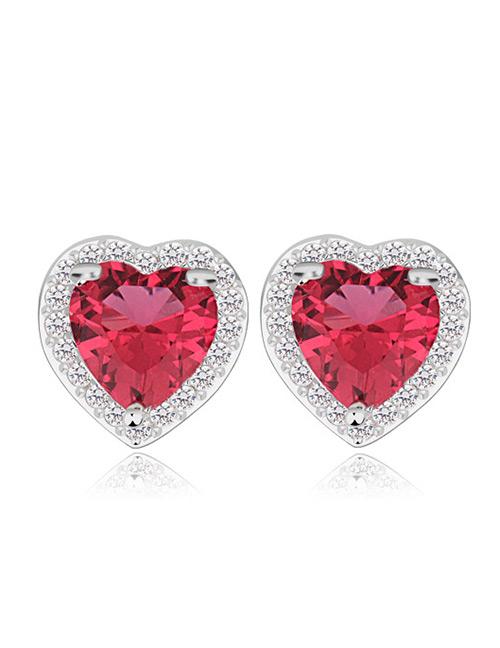 Fashion Red Heart Shape Design Simple Earrings