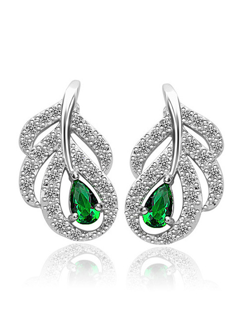 Fashion Green Full Diamond Design Leaf Shape Earrings