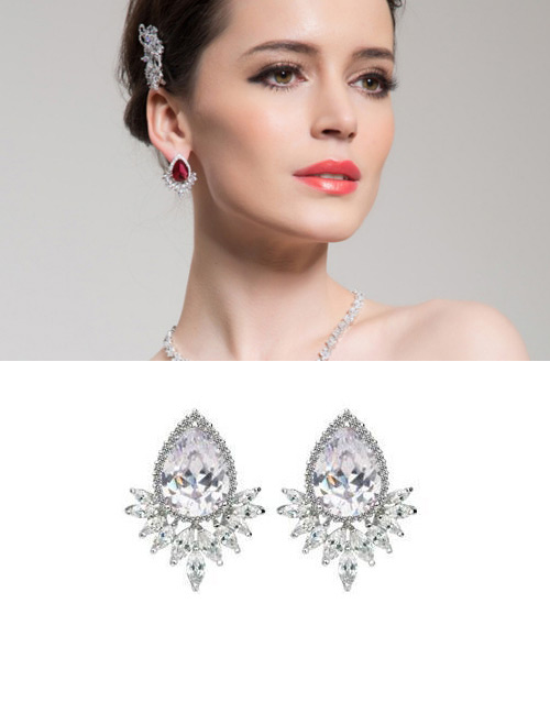 Fashion White Water Drop Shape Diamond Decorated Earrings