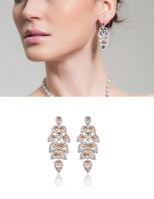 Fashion Champagne Leaf Shape Design Hollow Out Earrings