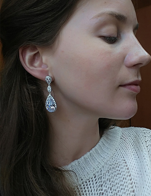 Fashion White Pure Color Design Long Earrings