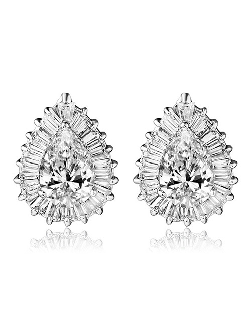 Fashion White Full Diamond Design Pure Color Earrings