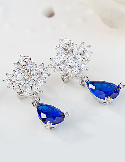 Fashion Blue Flowers Shape Decorated Long Earrings