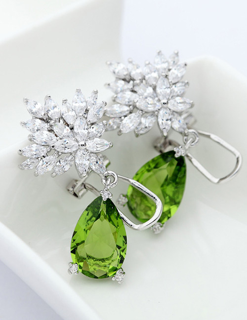 Fashion Olive Flowers Shape Decorated Long Earrings