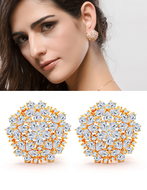 Fashion Champagne Flowers Shape Design Hollow Out Earrings