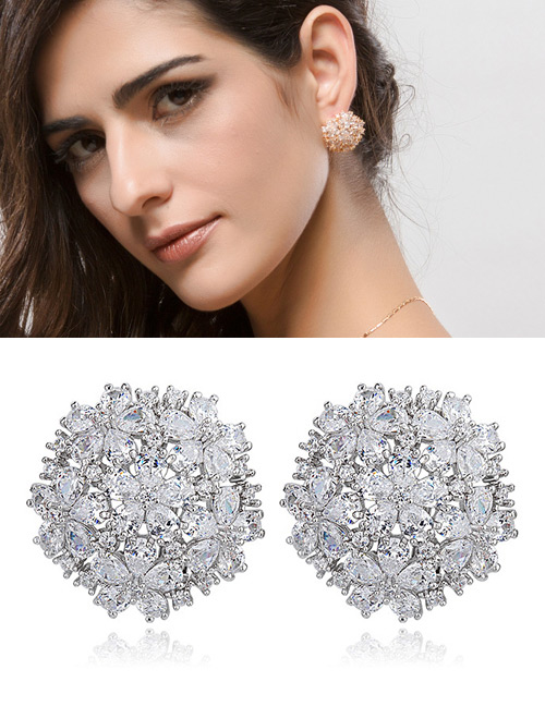 Fashion White Flowers Shape Design Hollow Out Earrings