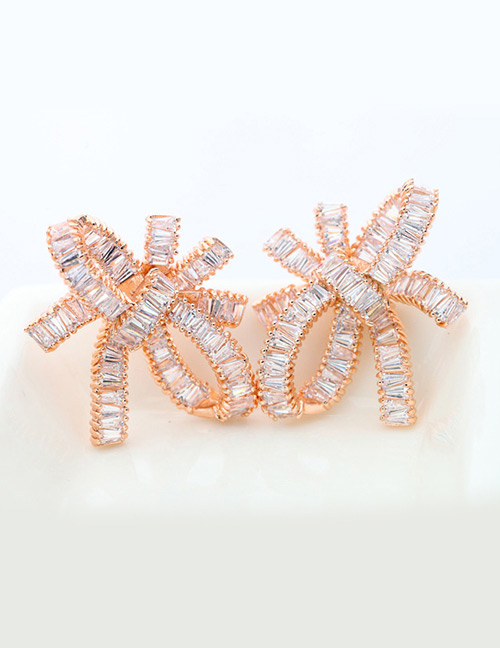 Fashion Champagne Bowknot Shape Decorated Earrings