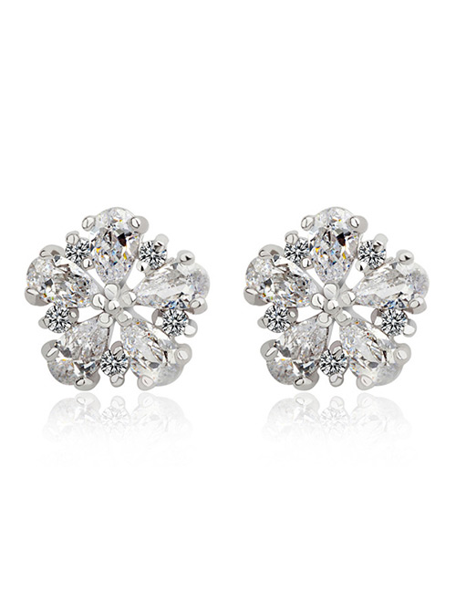 Fashion White Flower Shape Design Pure Color Earrings