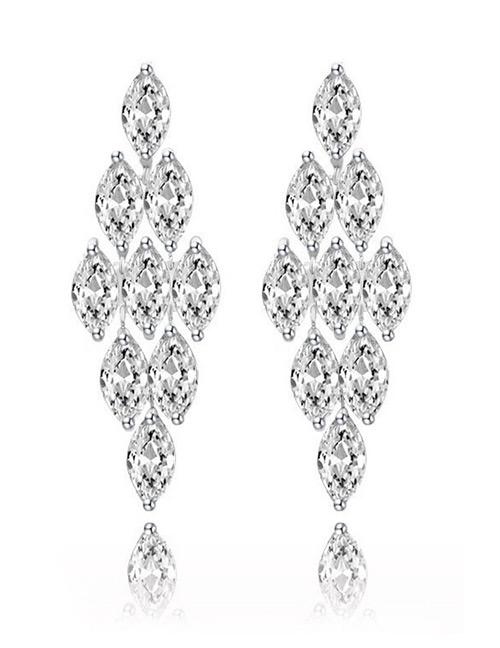 Fashion White Rhombus Shape Design Long Earrings