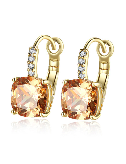 Fashion Champagne Pure Color Design Square Shape Earrings