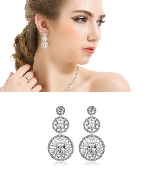 Fashion White Hollow Out Flowers Decorated Earrings