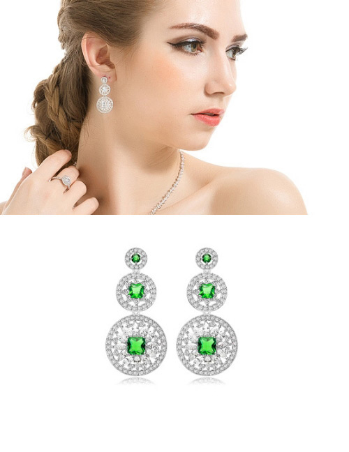 Fashion Green Hollow Out Flowers Decorated Earrings