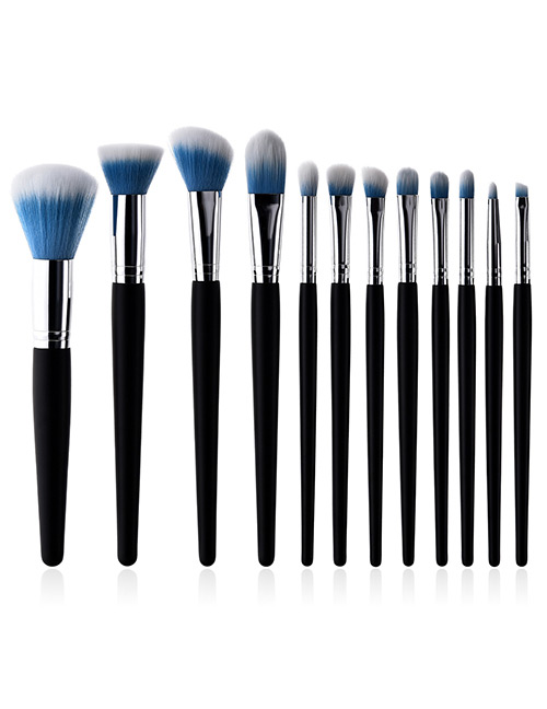 Fashion Blue+white Color Matching Design Cosmetic Brush(12pcs)