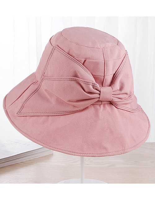Fashion Pink Bowknot Design Pure Coloer Foldable Sun Hat