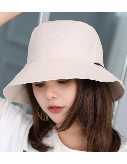 Fashion Beige Pure Color Decorated Fisherman Sunshade Hat
