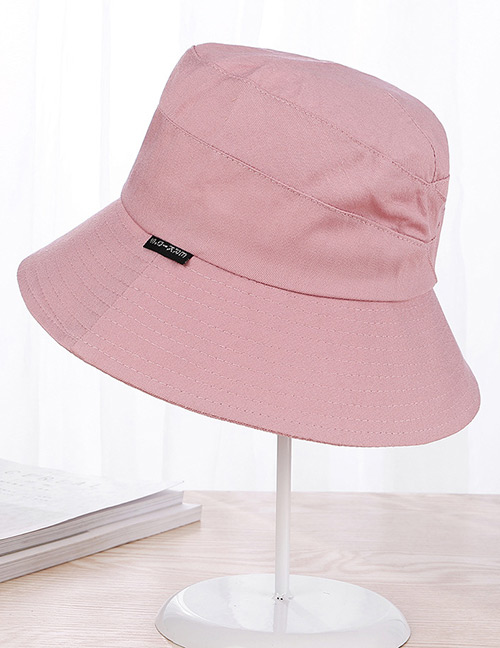 Fashion Pink Pure Color Decorated Fisherman Sunshade Hat