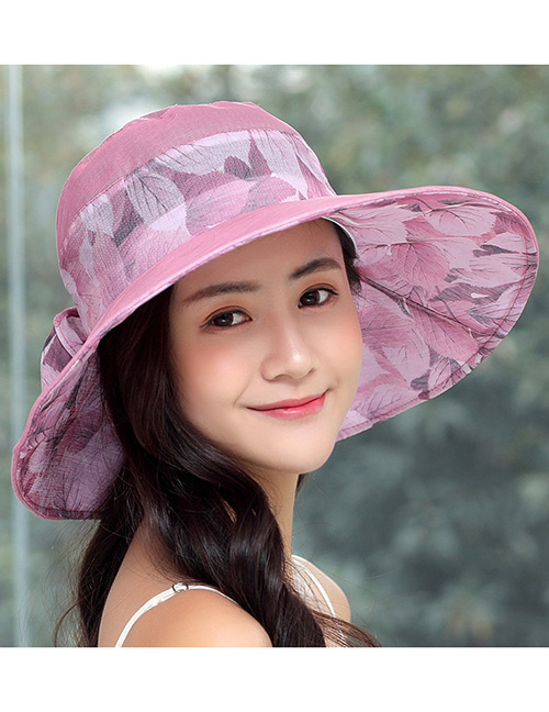 Fashion Plum Red Bowknot Decorated Foldable Sun Hat